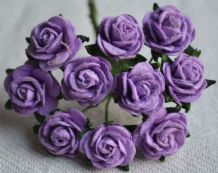 1.5cm LILAC VIOLET Mulberry Paper Roses